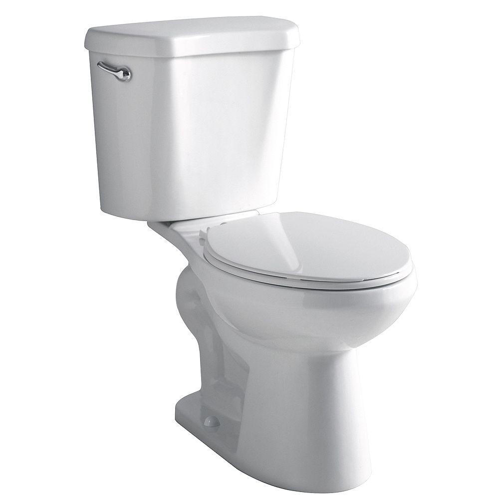 Glacier Bay 2-Piece 4.8 LPF Single Flush Round Front Bowl Toilet in White