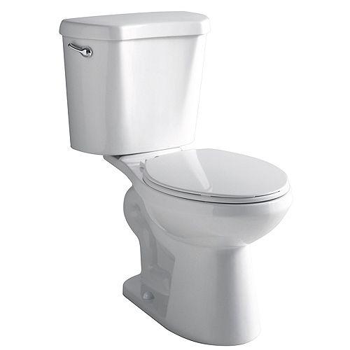 2-Piece 4.8 LPF Single Flush Round Front Bowl Toilet in White