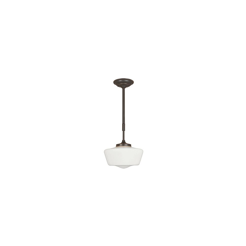 World Imports Luray Collection 1-Light Oil-Rubbed Bronze Pendant with Schoolhouse White Glass Shade