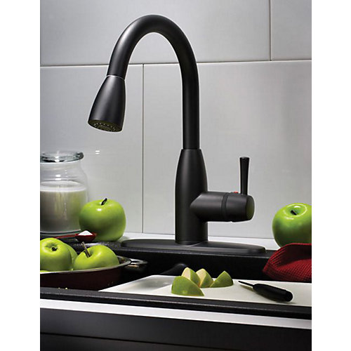 Fairbury Single-Handle Pull-Down Sprayer Kitchen Faucet in Matte Black