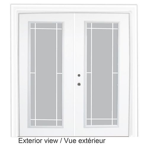 STANLEY Doors 71 inch x 82.375 inch Clear LowE Argon Prefinished White Right-Hand Steel Garden Door with 7-1/4 inch Jamb and Prairie Style Internal Grill - ENERGY STAR®