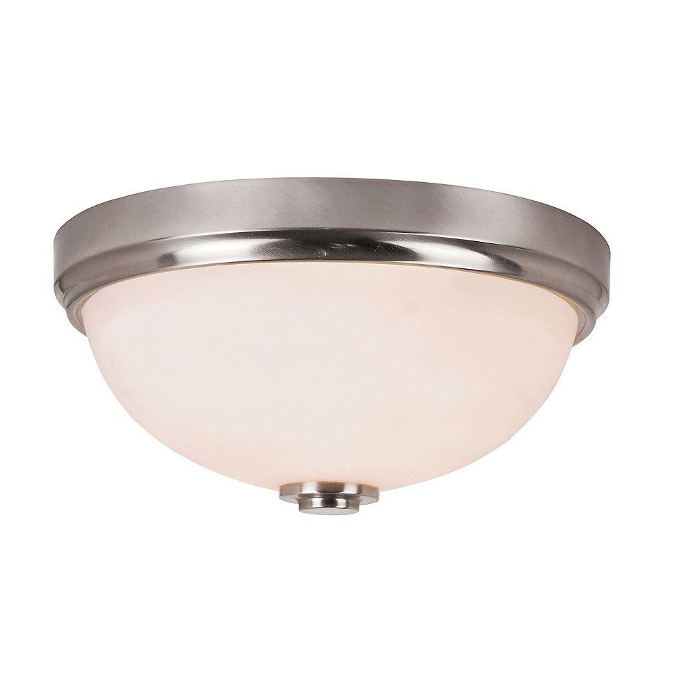 Bel Air Lighting Luminaire affleurant verre blanc givré, bande nickel