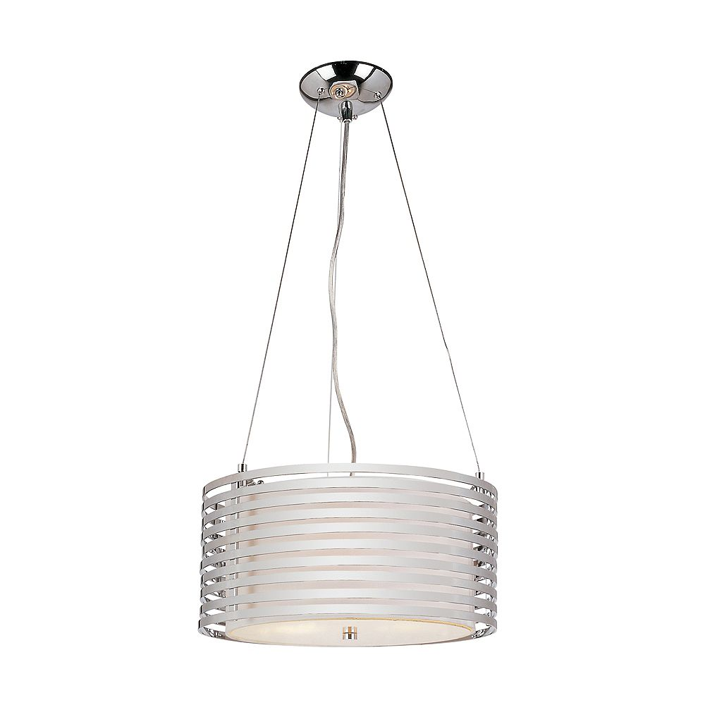 Bel Air Lighting Chrome and Linen Drum Pendant - 16 inch