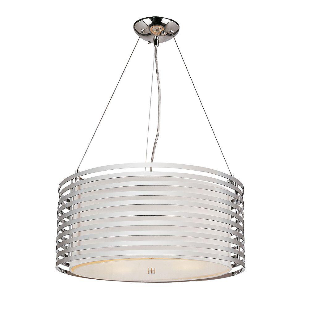 Bel Air Lighting Suspension cylindrique toile de lin, chrome - 50,80 cm (20 po)