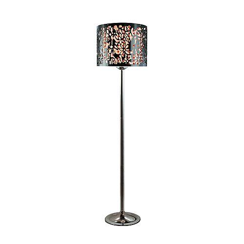 Lampadaire à abat-jour acrylique motif paisley et perles - rouge noir