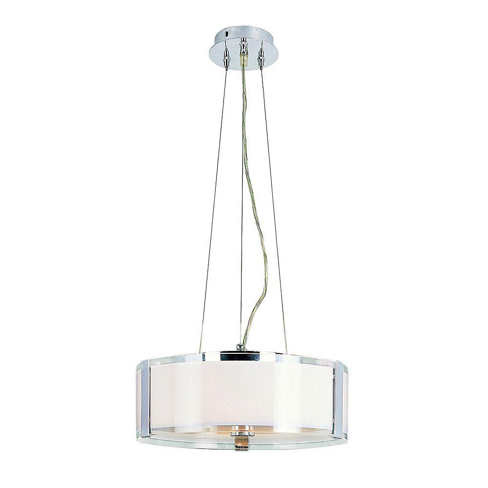 Bel Air Lighting Lampe suspendue réglable, chrome et opale - moyenne
