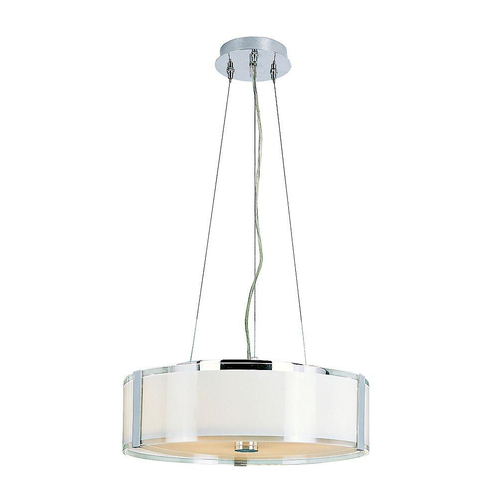 Bel Air Lighting Lampe suspendue réglable, chrome et opale - grande