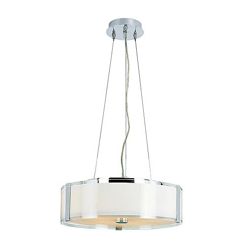 Bel Air Lighting Chrome and Opal Adjustable Pendant- Large