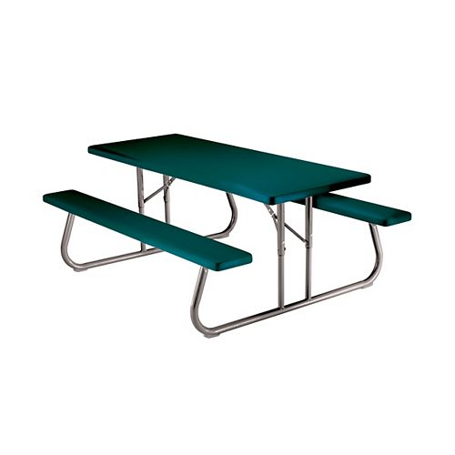 Table de pique-nique pliante 1,83m (6pi) (vert) - une palette de dix 10