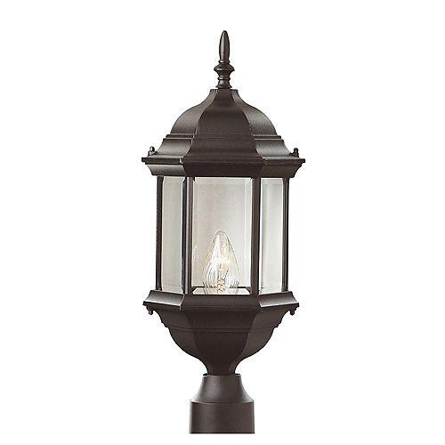 Lanterne de lampadaire avec verre biseauté transparent, noire