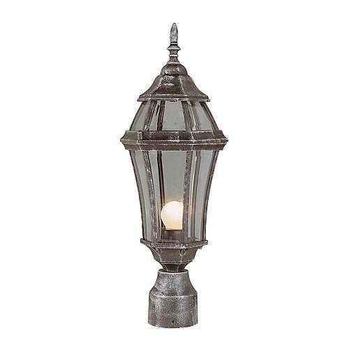Lanterne de lampadaire, verre bombé, fer patiné