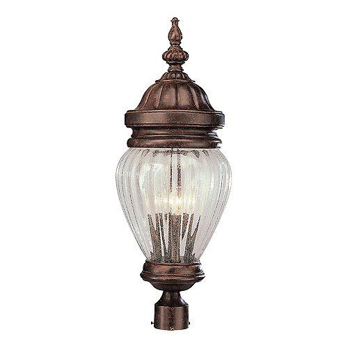 Luminaire de lampadaire, verre en forme de gland, rouille patinée