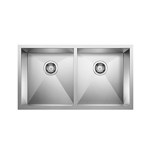 QUATRUS U 2, Equal Double Bowl Undermount Kitchen Sink, Stainless Steel