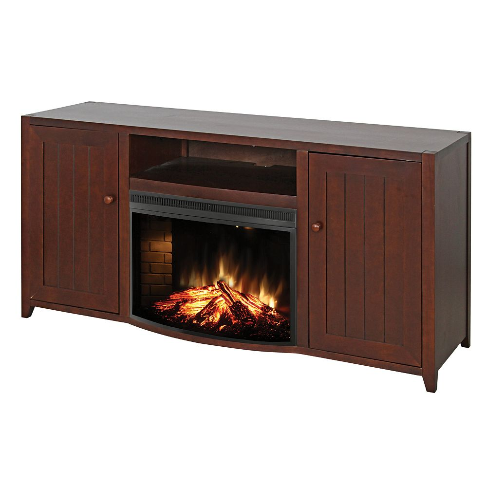 Muskoka Maple Collection Media Console, 25-inch Curved Widescreen Electric Fireplace, Dark Coffee