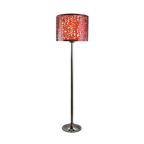 Lampadaire à abat-jour acrylique motif paisley et perles - rouge rouge
