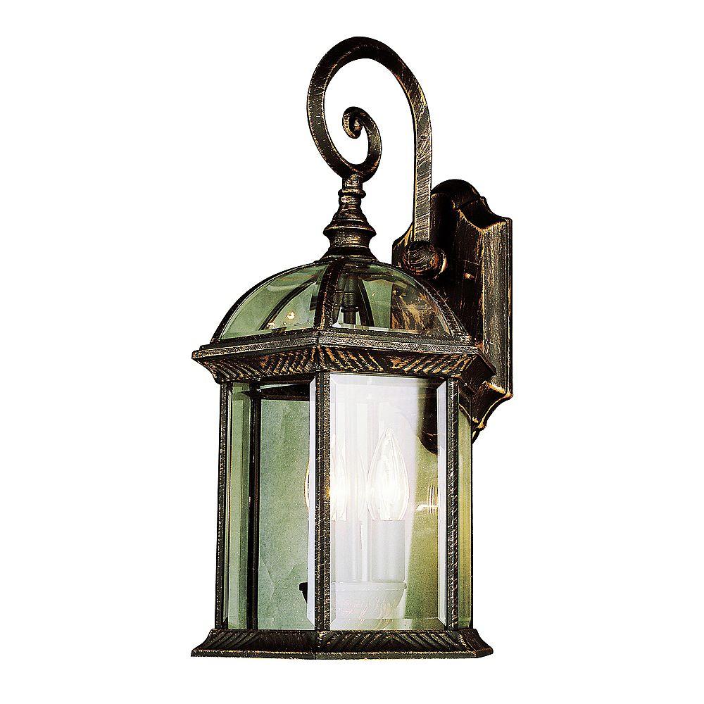 Bel Air Lighting Coppered Black Glass Framed Wall Light - Large