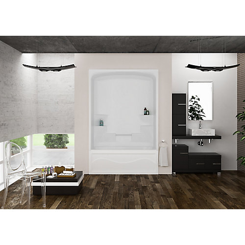 Liberty 34-inch D x 60-inch W x 88-inch H 6-shelf 1-Piece Left Hand Drain Tub & Shower in White