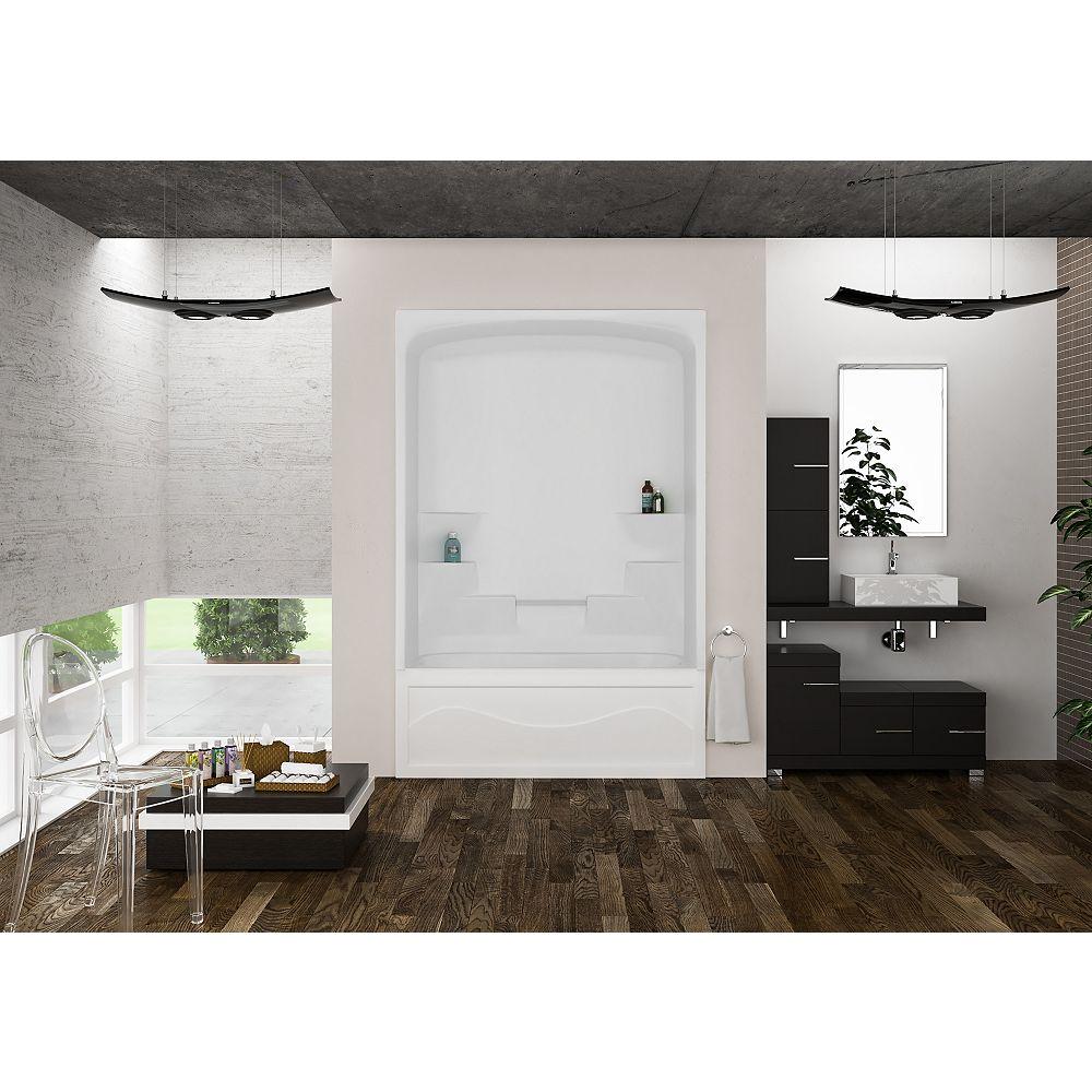 Mirolin Liberty 34 pouces de diamètre x 60 pouces de largeur x 88 pouces de hauteur 6 étagères, 1 pièce, baignoire et douche en blanc.