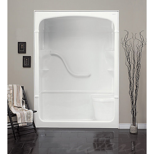 Madison 33.25-Inch D x 60-inch W x 88-inch H 1-Piece Acrylic Shower Stall with Seat in White