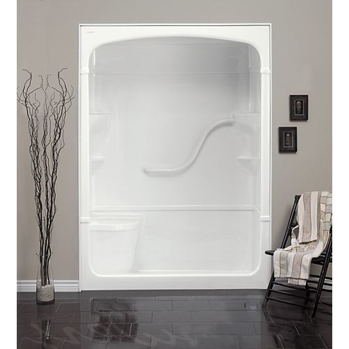 """Madison 33.25-Inch D x 60-inch W x 88"""" H 1-Piece Acrylic Rectangle Shower Stall with Seat in White"""