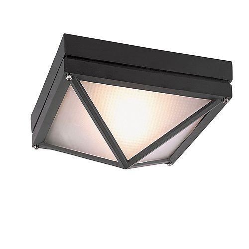 Plafonnier d'extérieur, carré, noir, 22,86 cm (9 po)