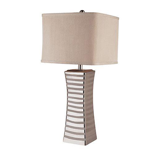 Lampe de table nickel brossé et poli -  abat-jour carré en tissu