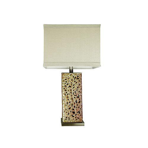 Lampe de table argent patiné - abat-jour en toile de lin carré