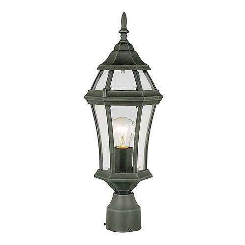Lanterne de lampadaire, verre bombé, vert pin