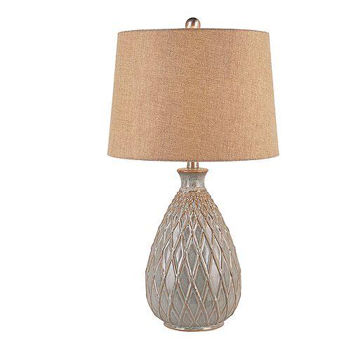 Lampe de table, argent et or -  abat-jour en toile de jute brune