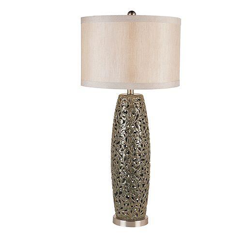Lampe de table argent patiné -  abat-jour en toile de lin écru