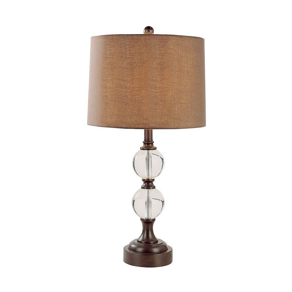 Bel Air Lighting Brown and Crystal Table Lamp -  Brown Burlap Shade