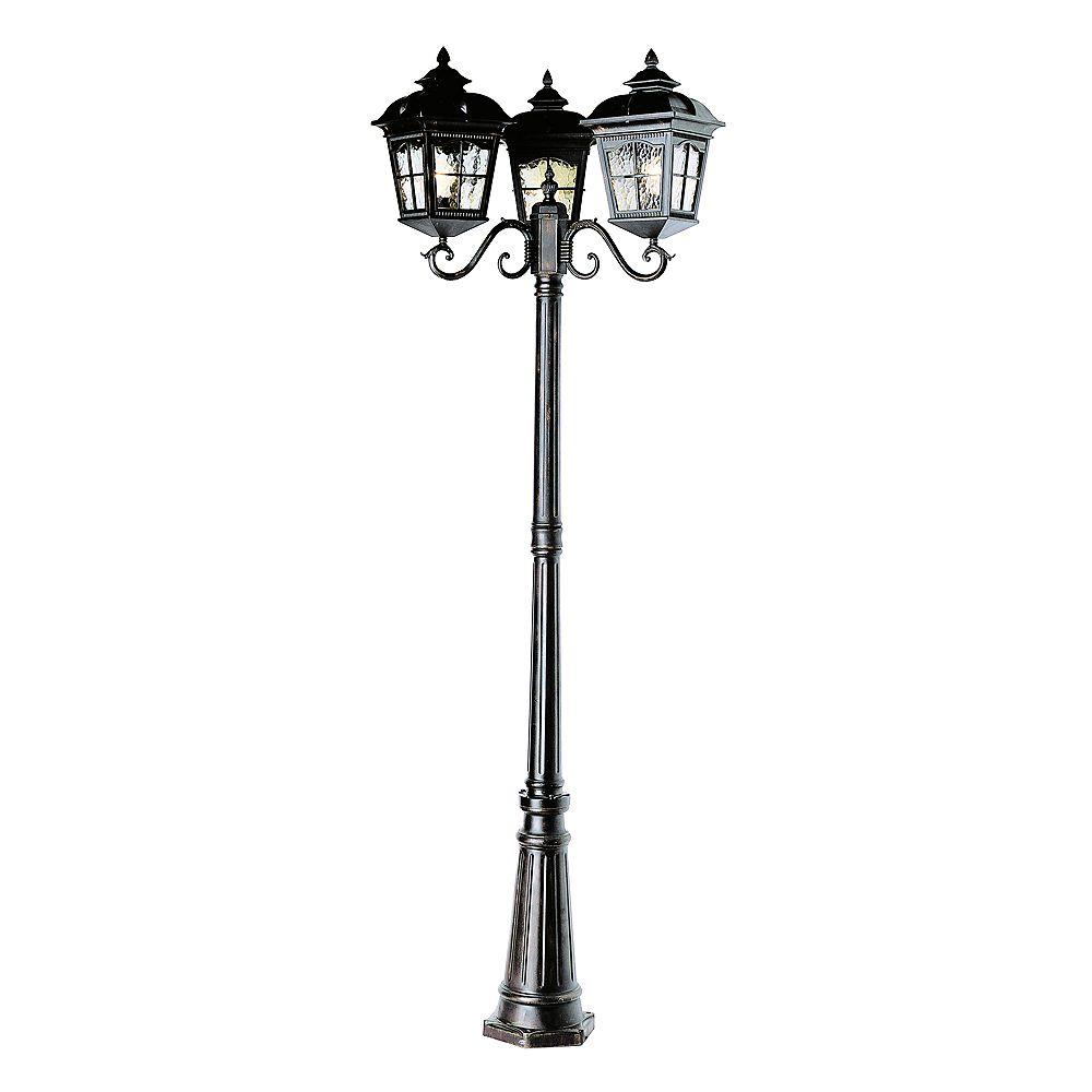 Bel Air Lighting Lampadaire à lanterne festonnée et 3 ampoules, noir