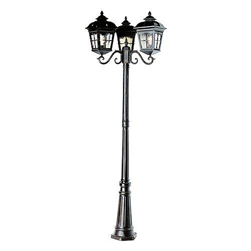 Lampadaire à lanterne festonnée et 3 ampoules, noir