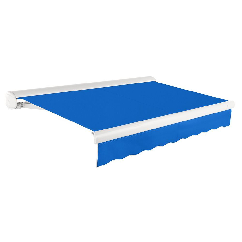 Beauty-Mark Victoria 14 ft. Motorized Retractable Luxury Cassette Awning (10 ft. Projection) (Right Motor) in Bright Blue
