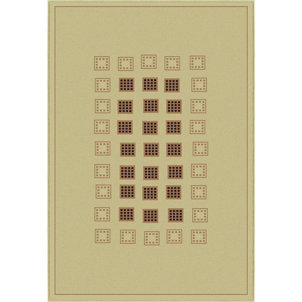 Korhani Carpette d'intérieur, 5 pi 3 po x 7 pi 7 po, style contemporain, rectangulaire, havane Basilic