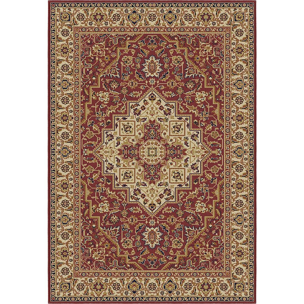 Korhani Farin Red 5 ft. 3-inch x 7 ft. 5-inch Indoor Traditional Rectangular Area Rug