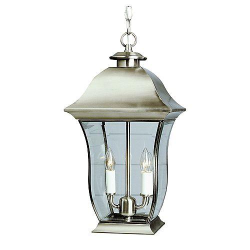 Bel Air Lighting Nickel Curved Glass Hanging Light - Large
