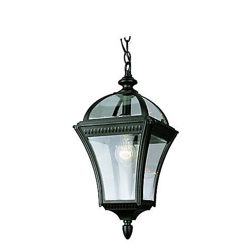 Lampe suspendue en verre, capuchon noir