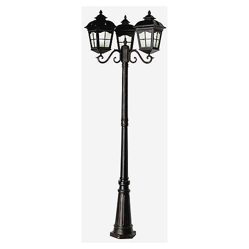 Lampadaire éconergétique, 3 lanternes à 4 facettes, noir