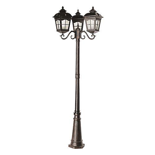 Lampadaire éconergétique, 3 lanternes à 4 facettes, rouille