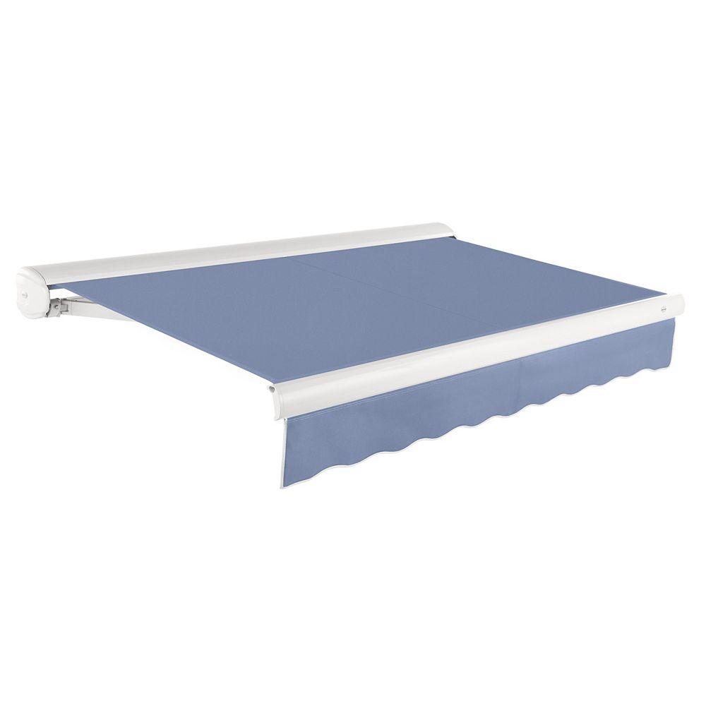 Beauty-Mark Victoria 16 ft. Motorized Retractable Luxury Cassette Awning (10 ft. Projection) (Left Motor) in Dusty Blue