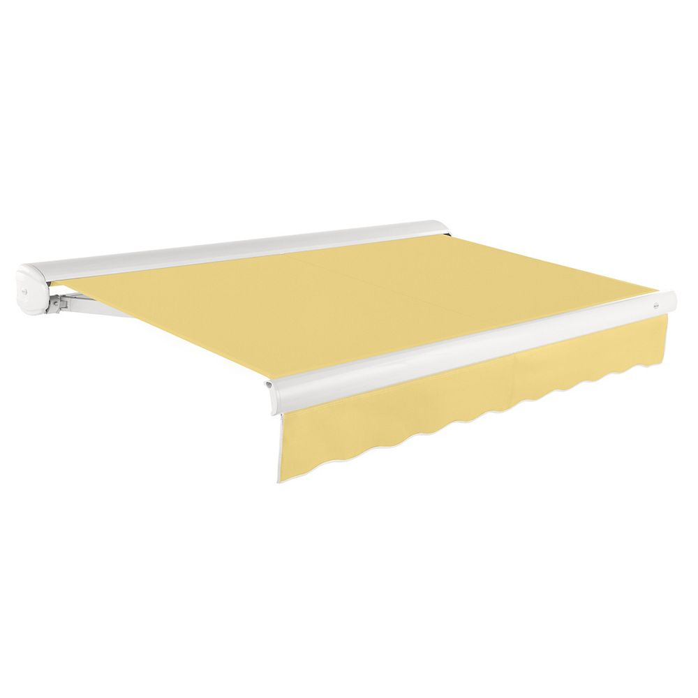 Beauty-Mark Victoria 16 ft. Motorized Retractable Luxury Cassette Awning (10 ft. Projection) (Left Motor) in Light Yellow