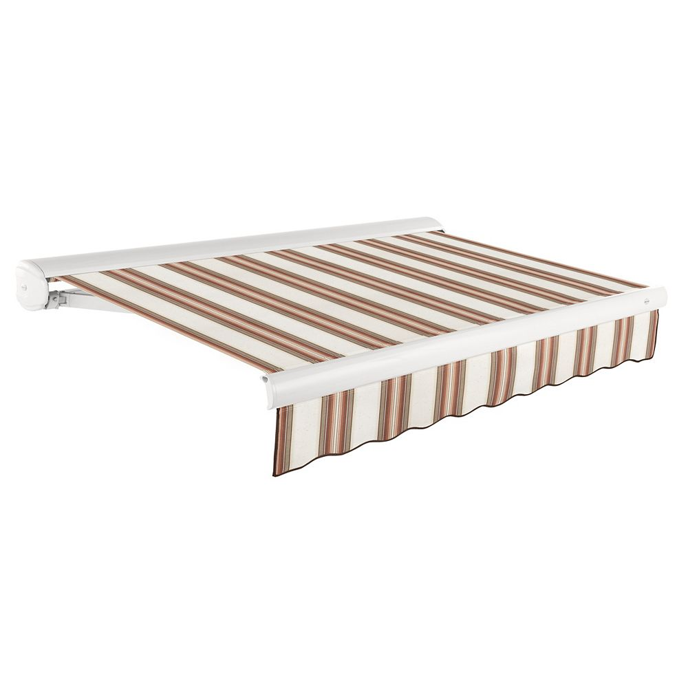 Beauty-Mark Victoria 8 ft. Manual Retractable Luxury Cassette Awning (7 ft. Projection) in Brown/Terra Cotta Multi-Stripe