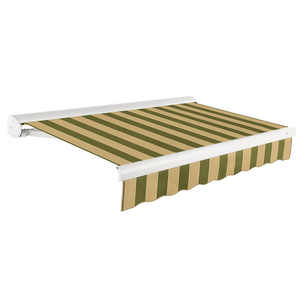 Beauty-Mark Victoria 16 ft. Motorized Retractable Luxury Cassette Awning (10 ft. Projection) (Right Motor) in Olive/Tan Stripe