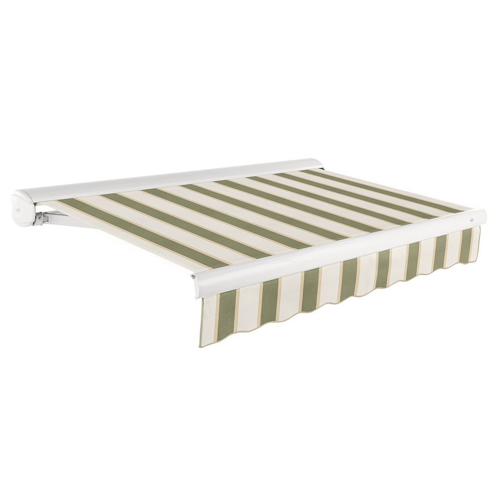 Beauty-Mark Victoria 20 ft. Motorized Retractable Luxury Cassette Awning (10 ft. Projection) (Right Motor) in Sage/Linen/Cream Stripe