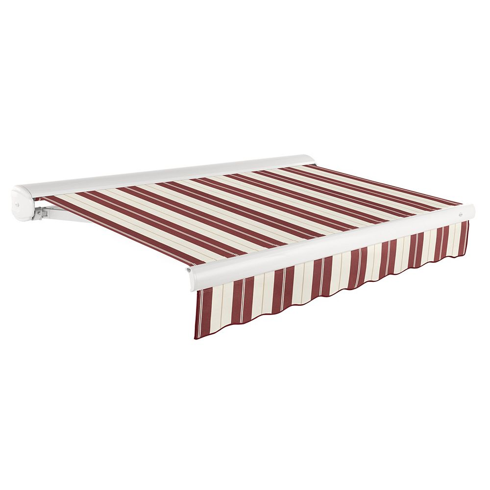 Beauty-Mark Victoria 18 ft. Manual Retractable Luxury Cassette Awning (10 ft. Projection) in Burgundy/Tan Wide Multi-Stripe