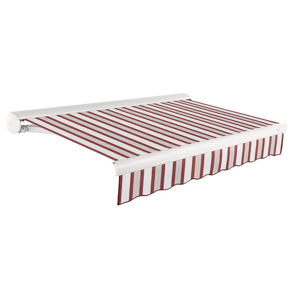 Beauty-Mark Victoria 24 ft. Motorized Retractable Luxury Cassette Awning (10 ft. Projection) (Right Motor) in Burgundy/Gray/White Multi-Stripe