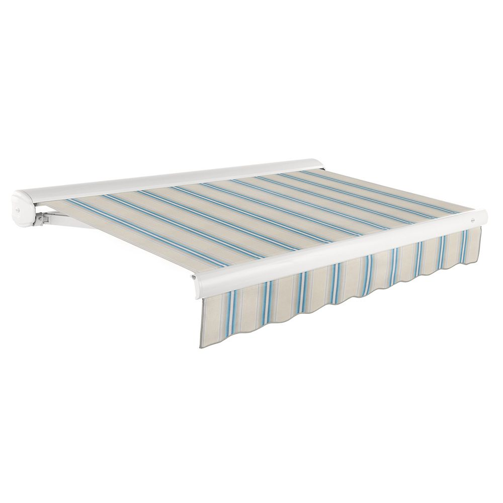 Beauty-Mark 24 Ft. VICTORIA  Manual Retractable Luxury Cassette Awning (10 ft. Projection) - Tan/Teal/White Multi Stripe