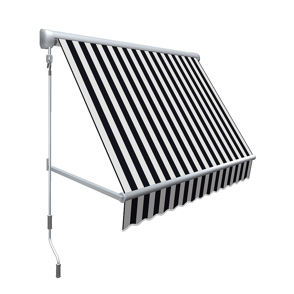 """Beauty-Mark 10 Feet MESA Window Retractable Awning 24"""" height x 24"""" projection - Black/White Stripe"""