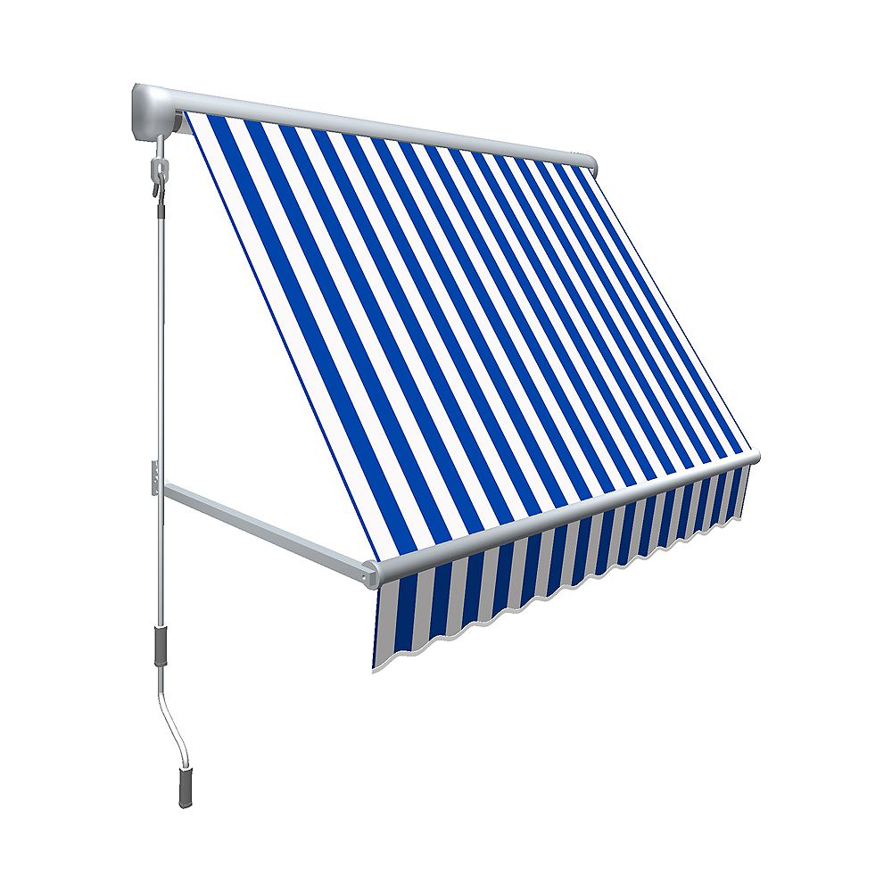 Beauty-Mark Mesa 4 ft. Retractable Window Awning (24-inch Projection) in Bright Blue/White Stripe